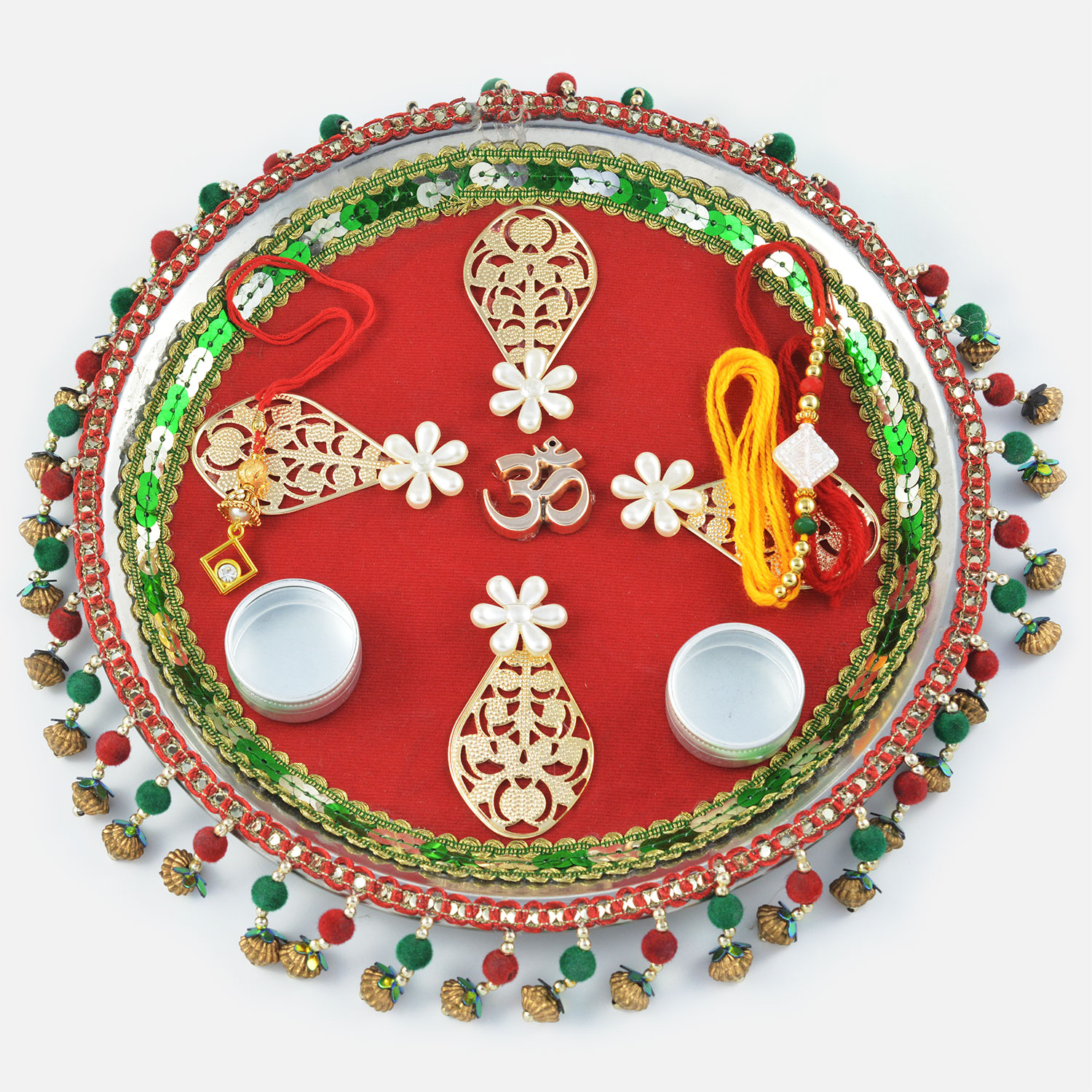 Exquisite Centered Om with Hanging Border Rakhi Pooja Thali