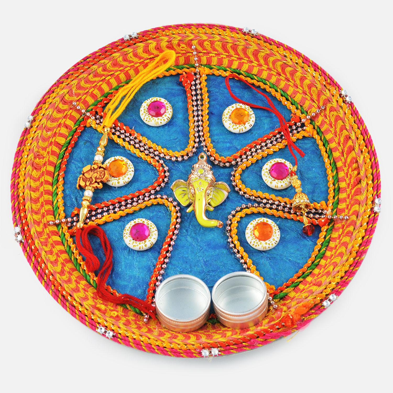 Ganesha and Mauli Designed Rakhi Pooja Thali