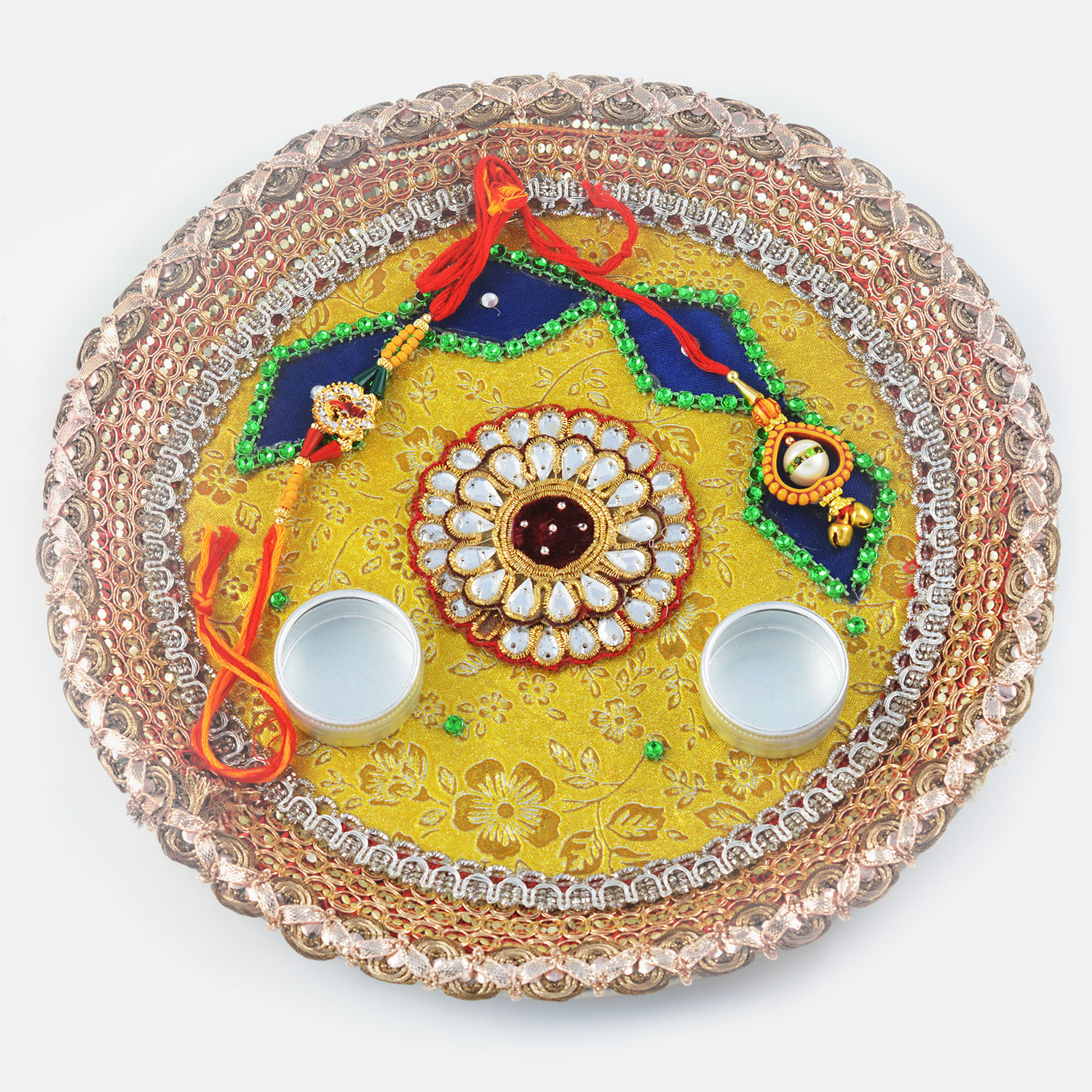 Intricately Designed Centered Kundan with Gota Border Rakhi Pooja Thali
