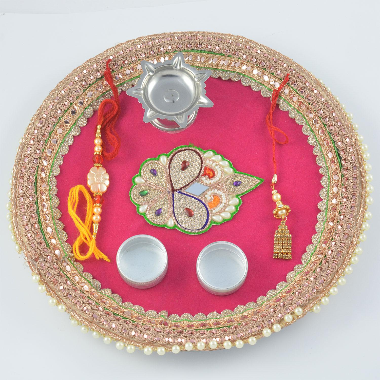 Simple Pearl Bordered Rakhi Pooja Thali