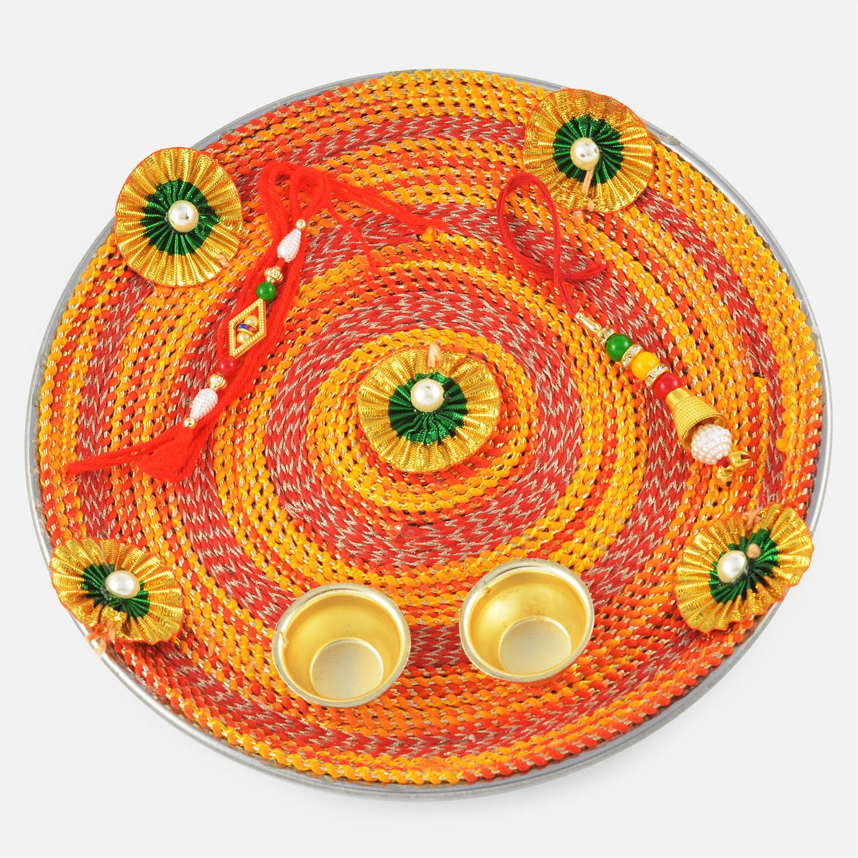 Magnificient Handmade Mauli Designer Rakhi Pooja Thali