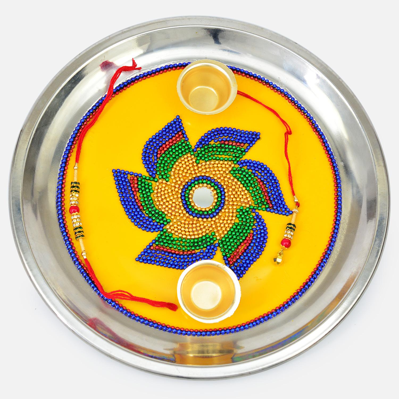 Beautiful Amazing Beads Designed Flower On Yellow Base Rakhi Pooja Thali