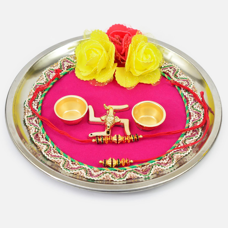 Divine Swastika Rose Type Flower Studded Pink Base Design Rakhi Thali