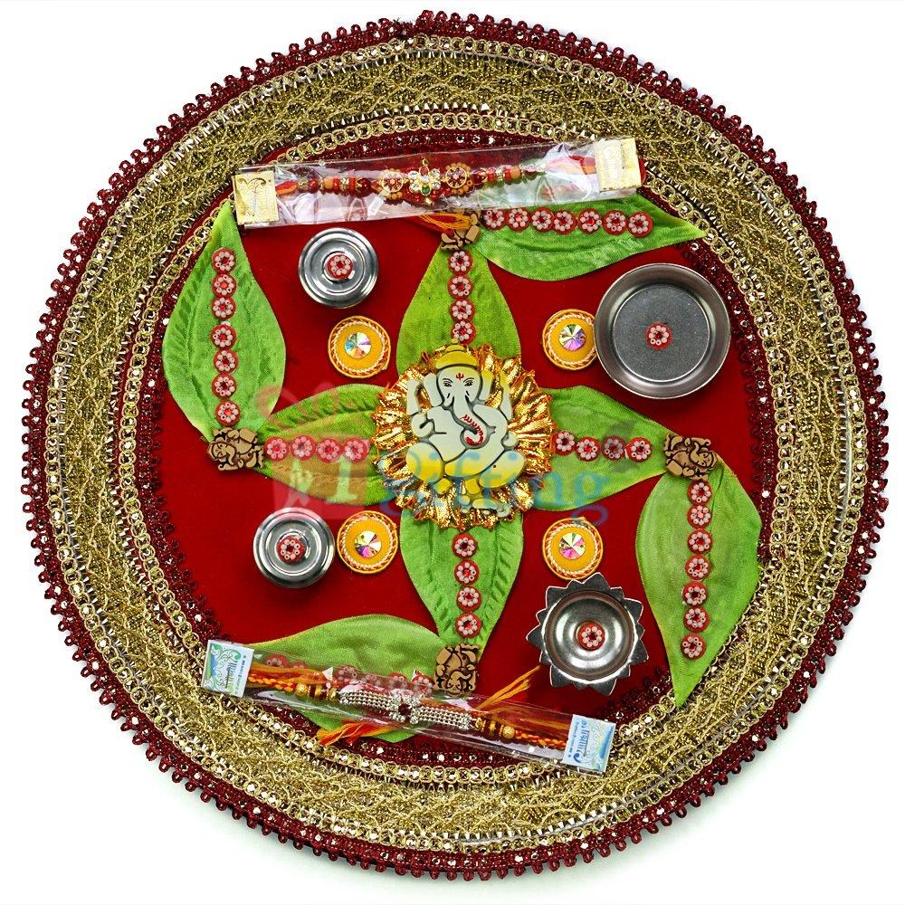 Vinayaka Leaf Designer Rakhi Pooja Thali