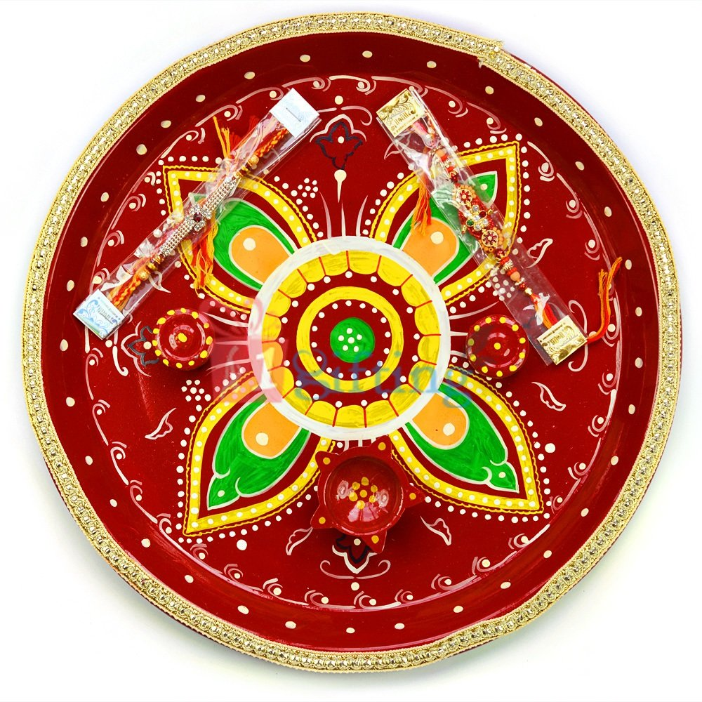 Flower Painted Gota Rakhi Pooja Thali