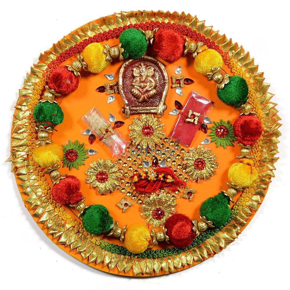 Velvet Ball Ganesha Rakhi Pooja Thali of Paper Mache with Gota Work