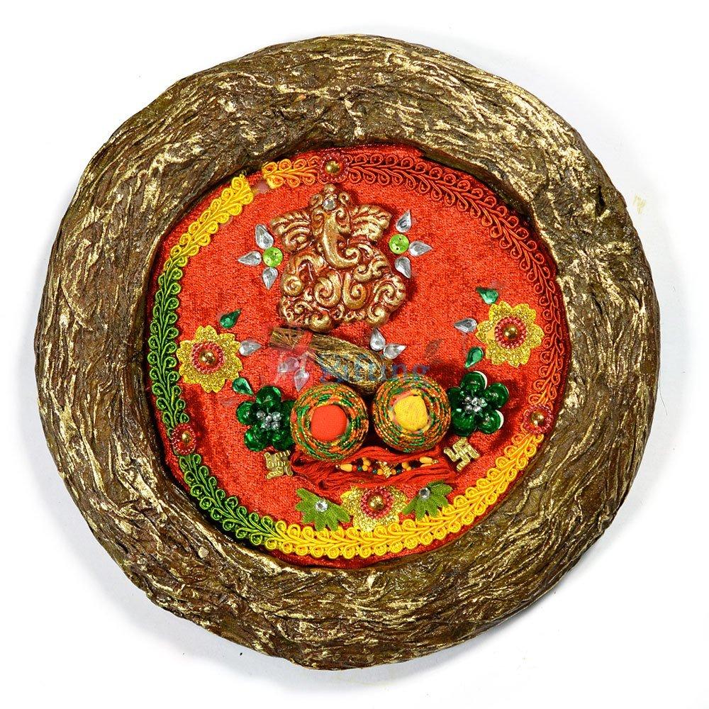Handicraft Rounded Rakhi Pooja Thali of Paper Mache