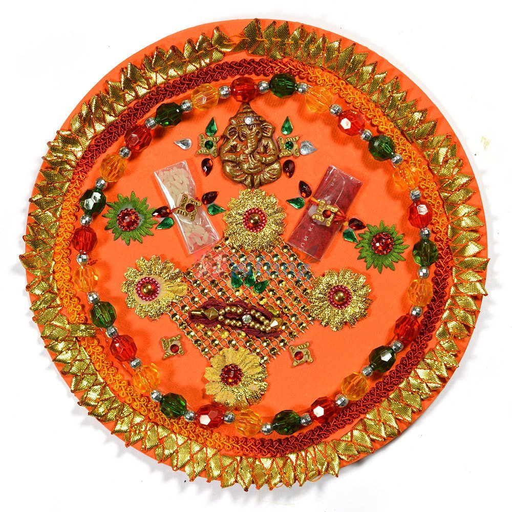 Red Green Beads Rakhi Pooja Thali of Paper Mache