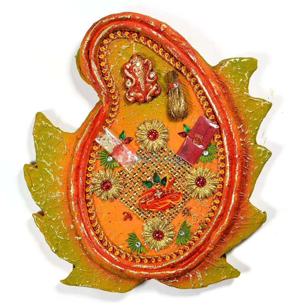 Handicraft Leaf Shape Rakhi Pooja Thali