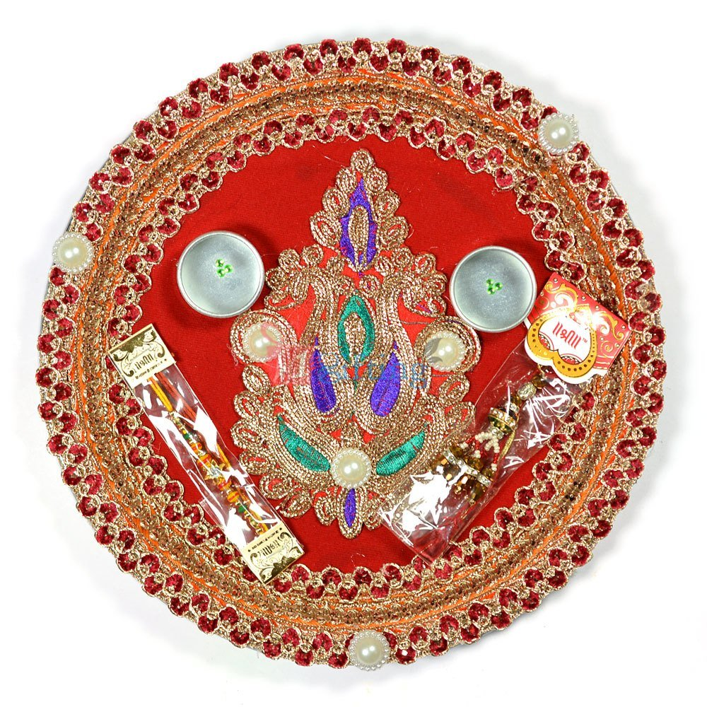 Designer Zardozi Leaf Rakhi Pooja Thali