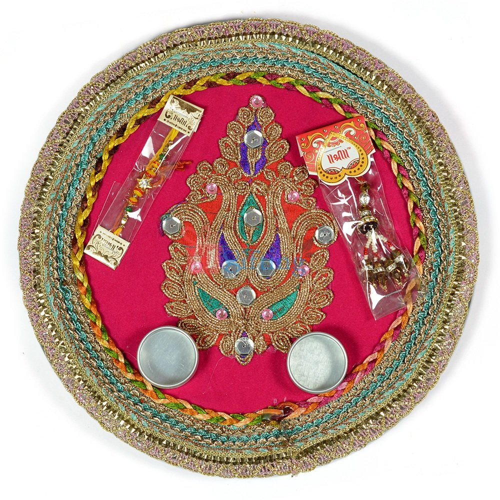 Beautiful Central Designer Kundan Rakhi Pooja Thali