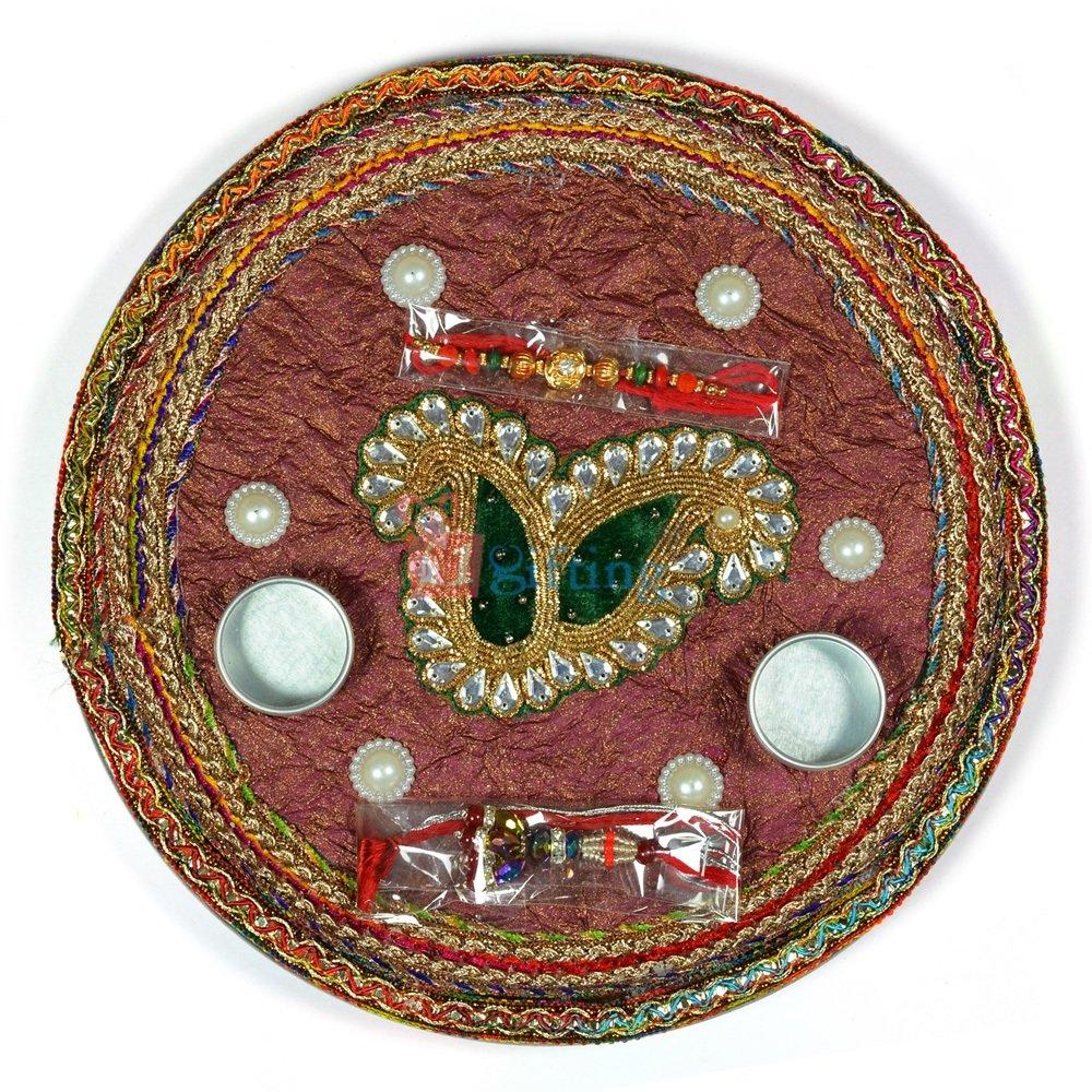 Twin Velvet Kundan Leaf Pearl Pooja Thali