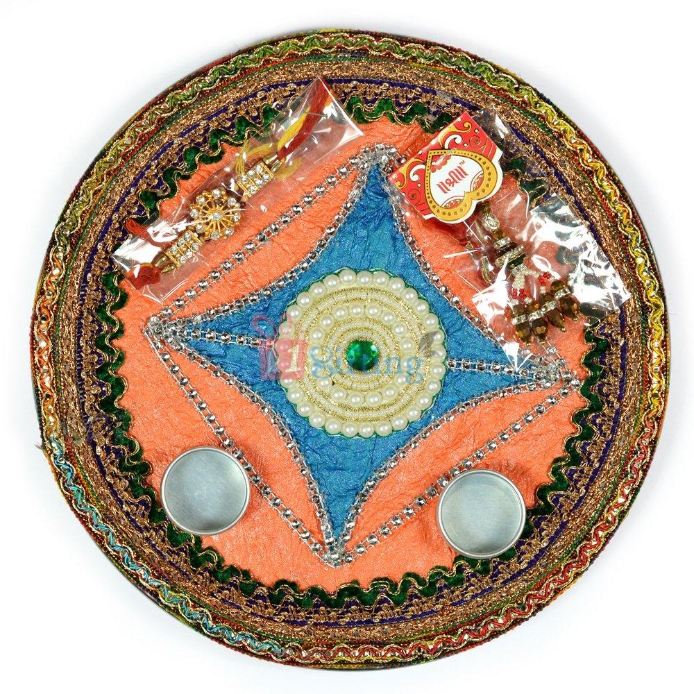 Handicraft Kundan Pearl Rakhi Pooja Thali