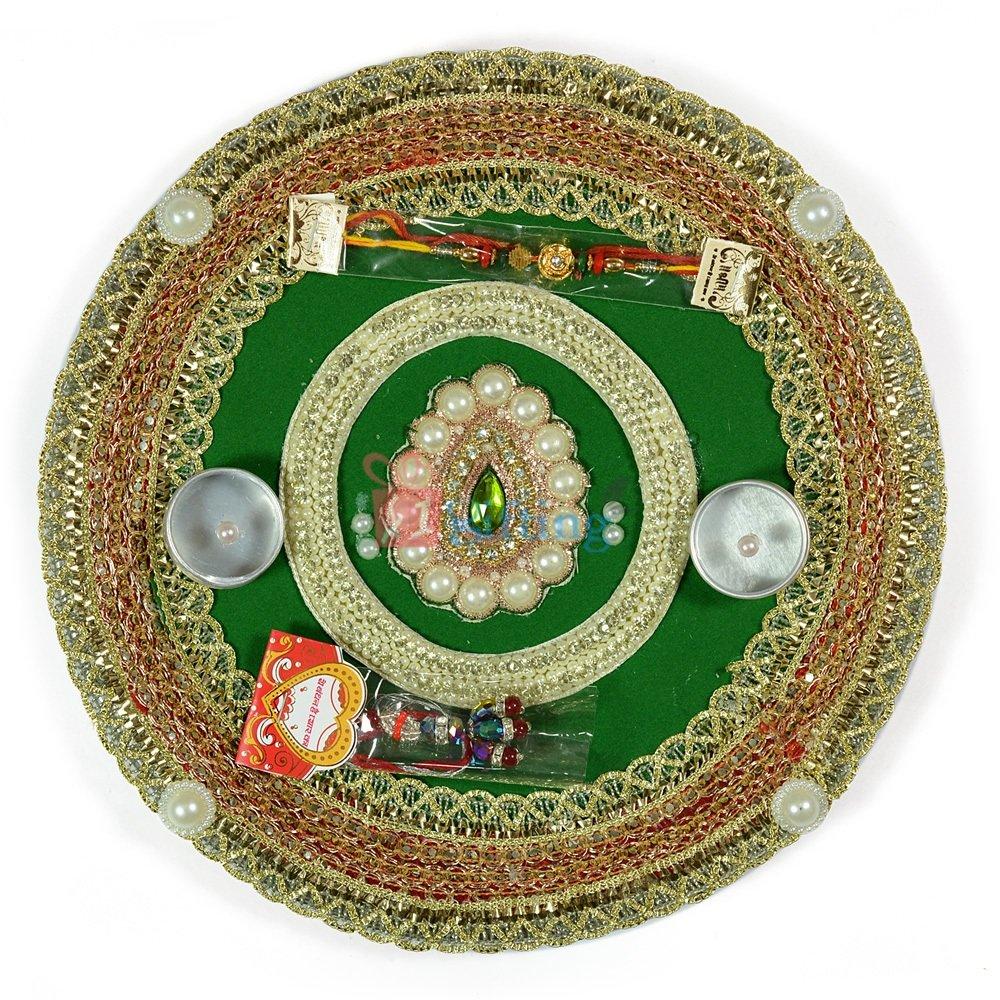 Wonderful Pearl Zardozi Circular Rakhi Pooja Thali