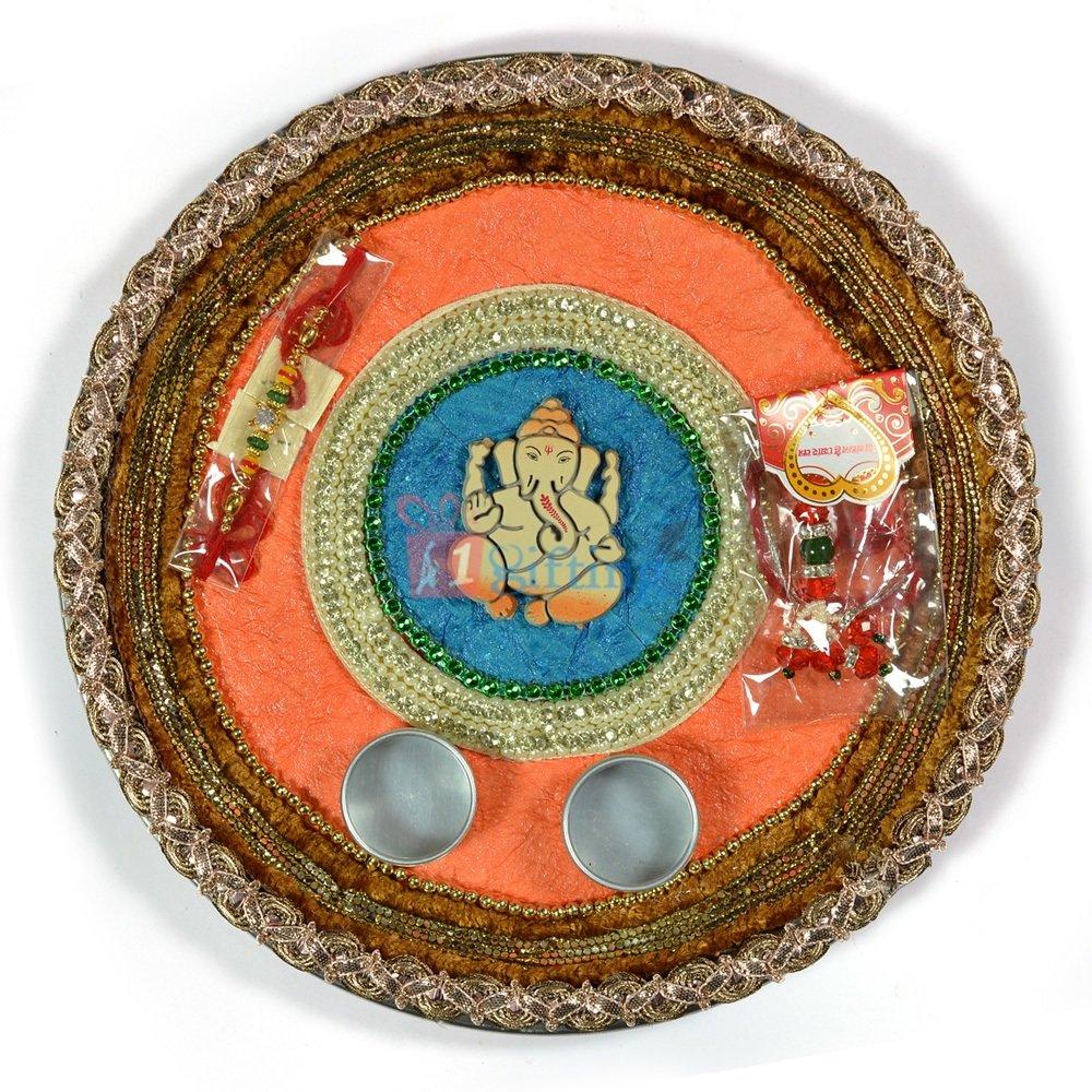Ganesha Zardozi Handmade Paper Base Rakhi Thali