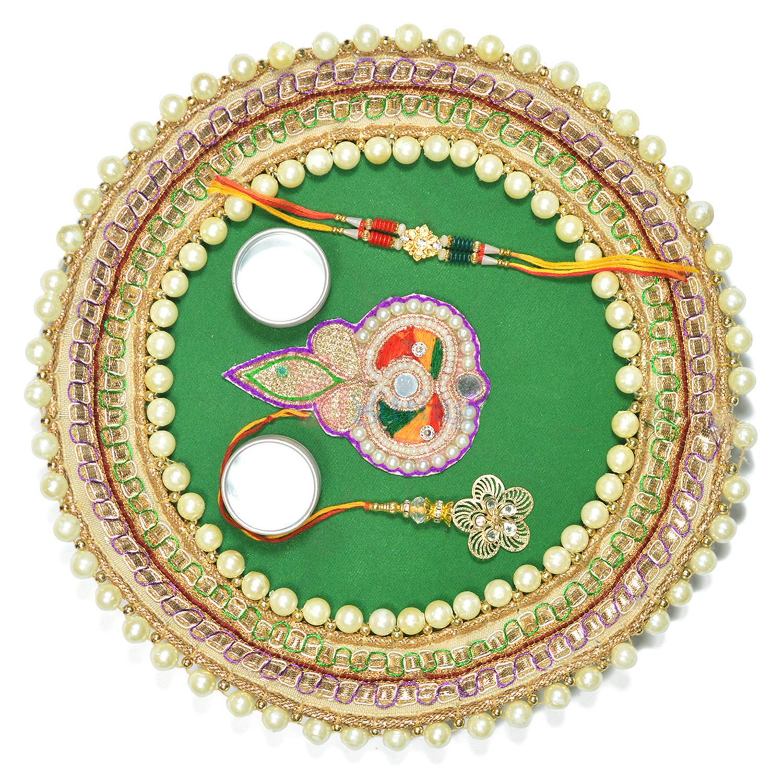 Superb Looking Pearl Bordered Rakhi Pooja Thali