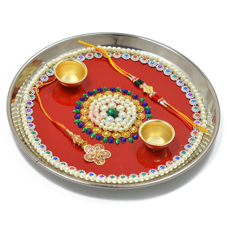 Marvellous Pearl Designer Rakhi Pooja Thali