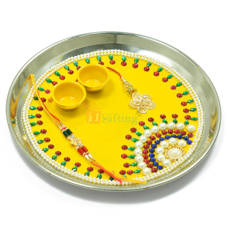 Beautiful Rising Sun Pearl Beads Rakhi Pooja Thali
