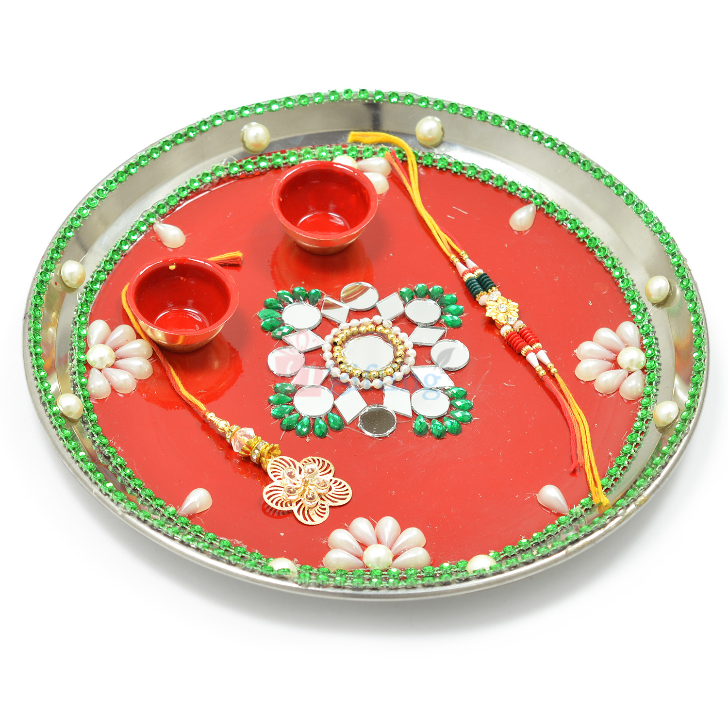 Beautiful Pearl Flower Painted Rakhi Pooja Thali