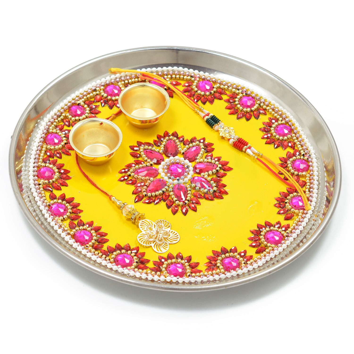 Pink and Red Floral Awesome Rakhi Pooja Thali