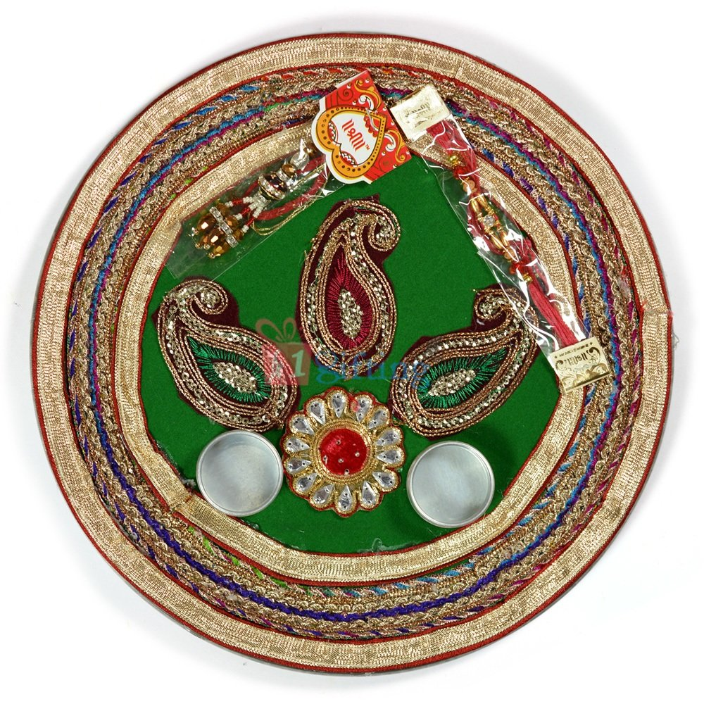 Kundan Velvet Zardozi Leaf Rakhi Pooja Thali
