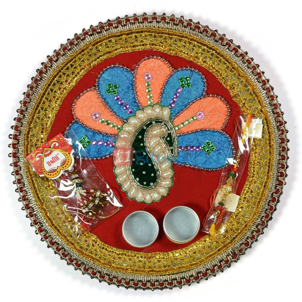 Dancing Peacock Pearl Rakhi Pooja Thali
