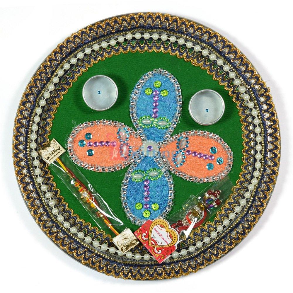 Multicolor Flower Kundan Pearl Rakhi Pooja Thali