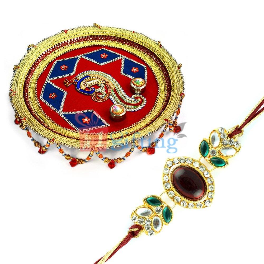 Royal Kundan Peacock Rakhi Pooja Thali with Diamond Rakhi