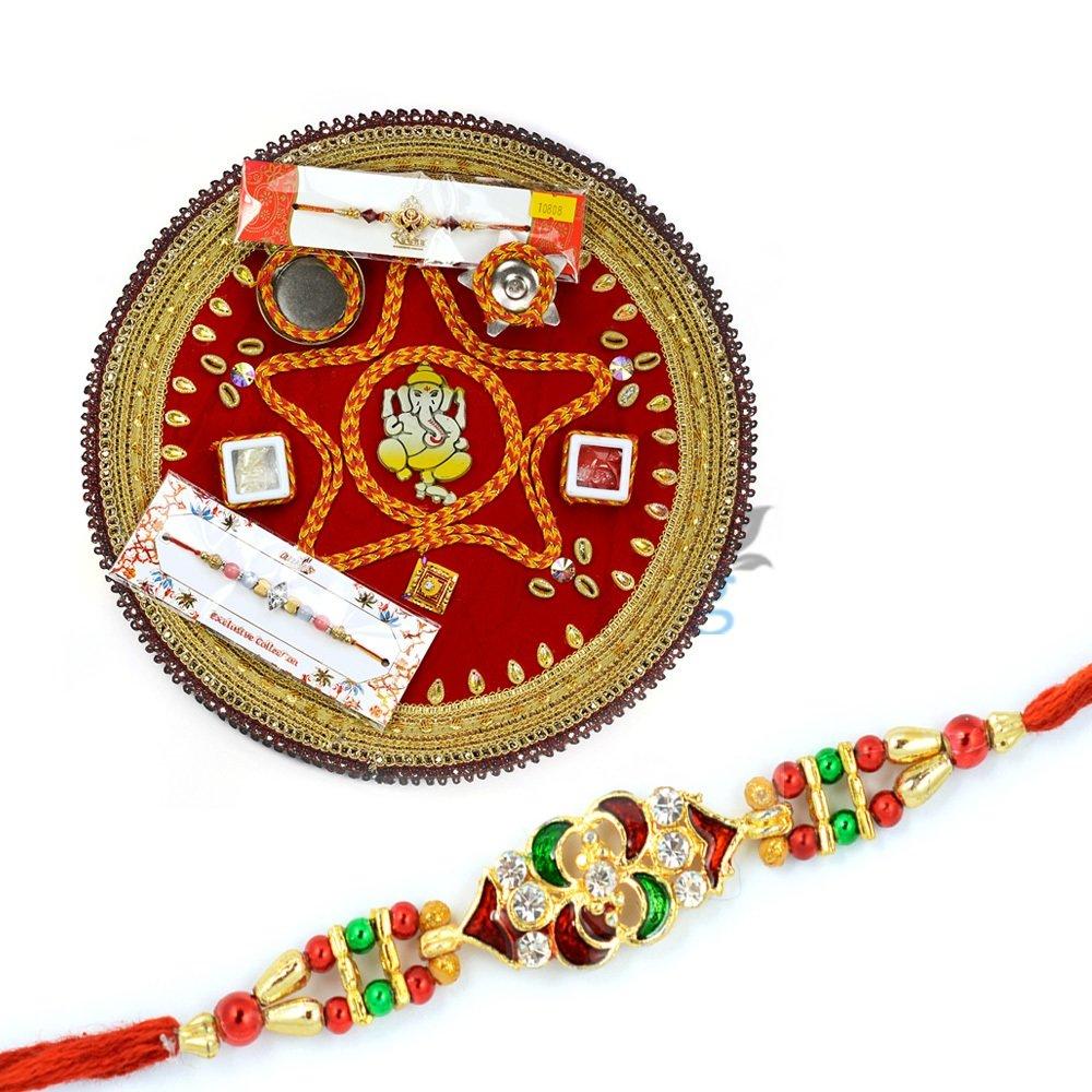 Ganesha Mauli Pooja Rakhi Thali with Meena Diamond Rakhi