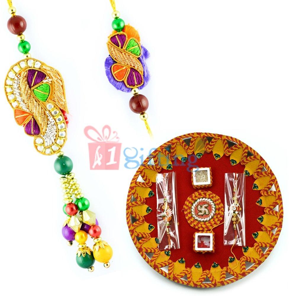 Swatik Mauli Thali for Rakhi Pooja Kundan Beads Rakhi Pair