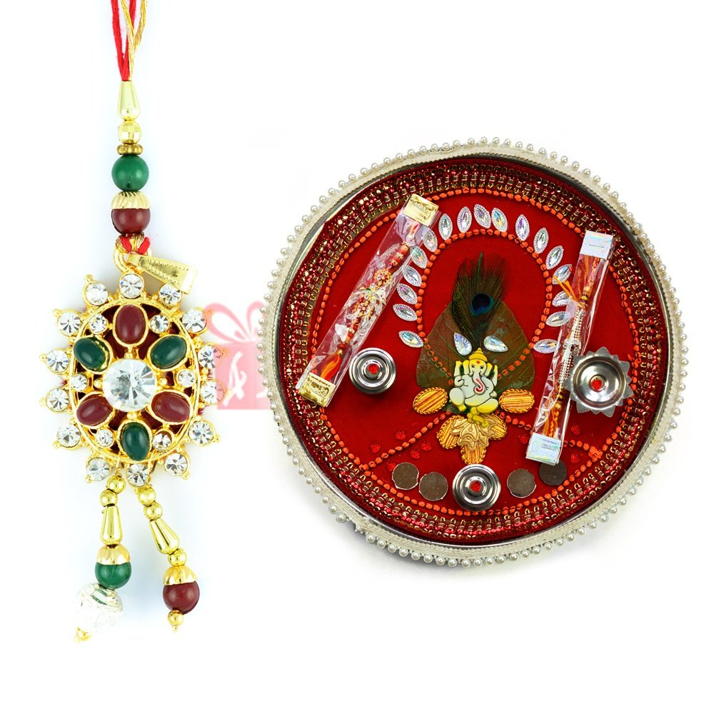 Vighna Vinayak Thali with Kundan Diamond Lumba Rakhi for Bhabhi