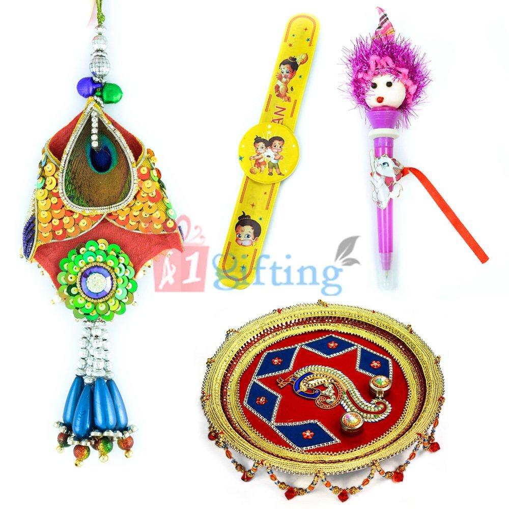 Royal Peacock Pooja Thali-Fancy Lumba and 2 Kids Rakhis