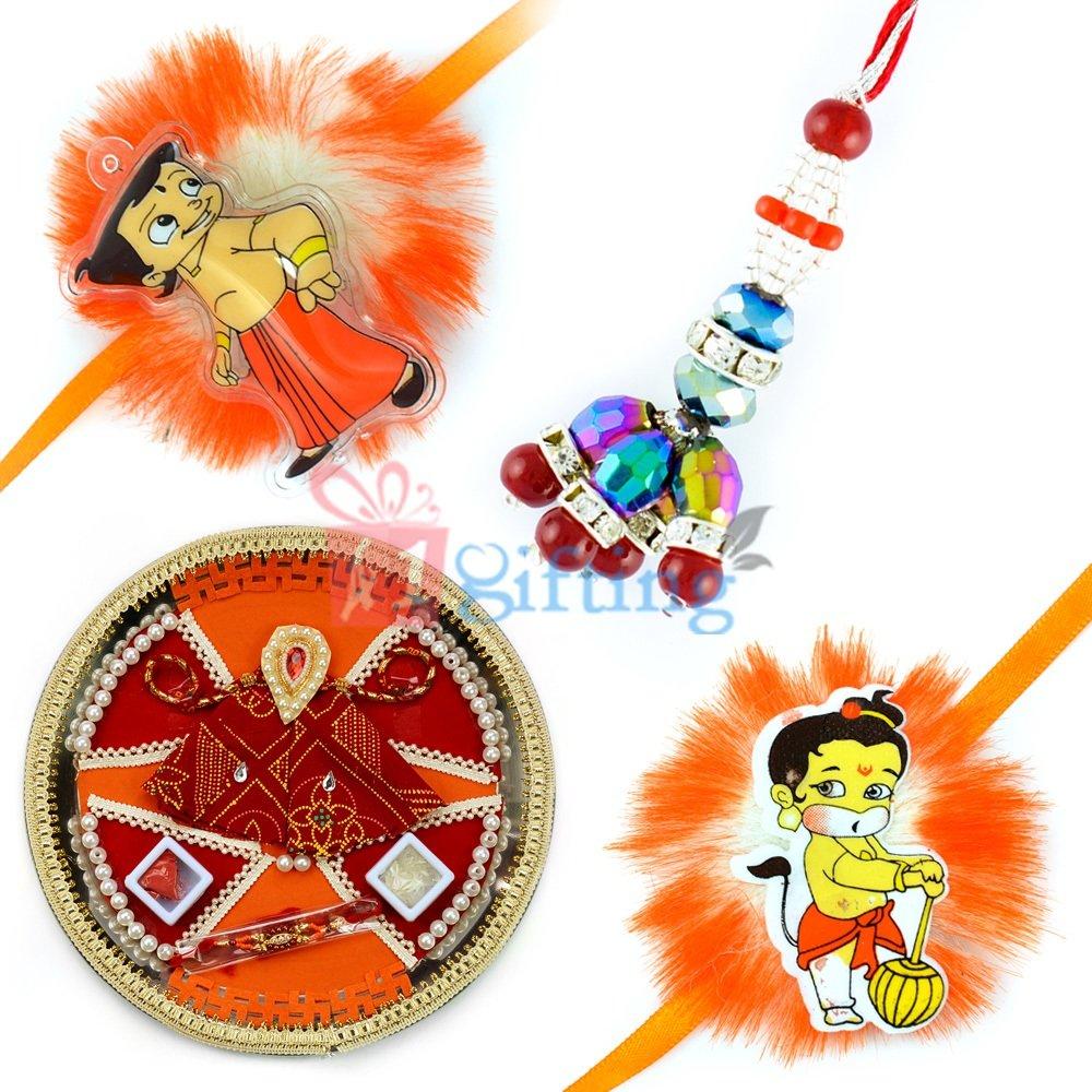Pearl Swatik Rakhi Thali-Queen Lumba and 2 Kids Rakhi