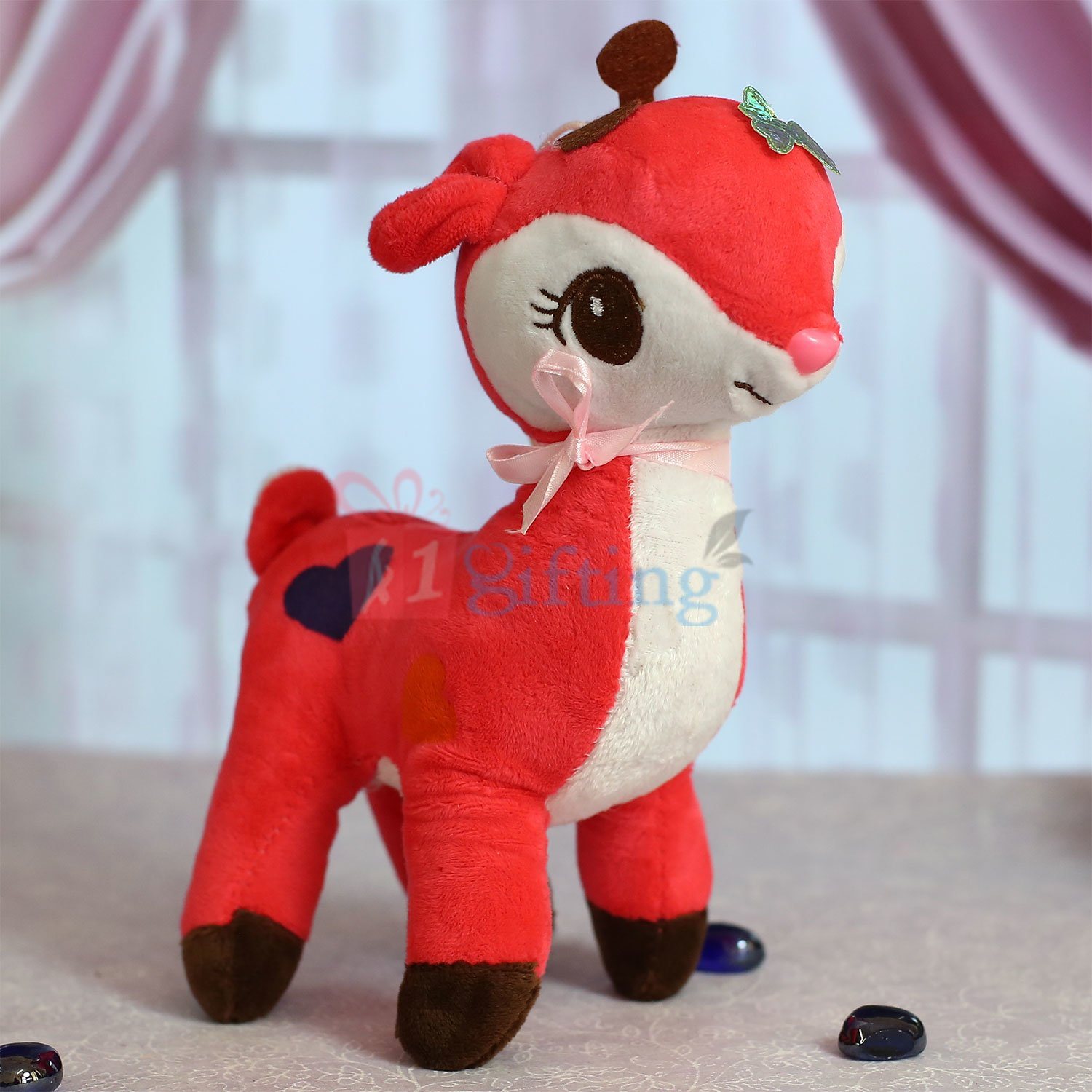 Beautiful Deer Soft Toy in Pink with White