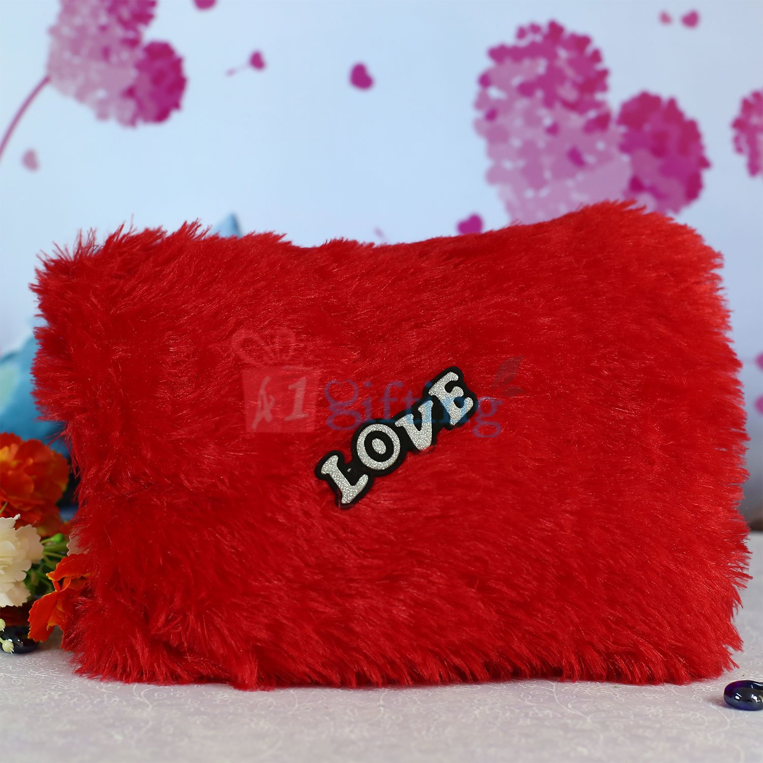 Fur Square Soft Cushion with Love Tag