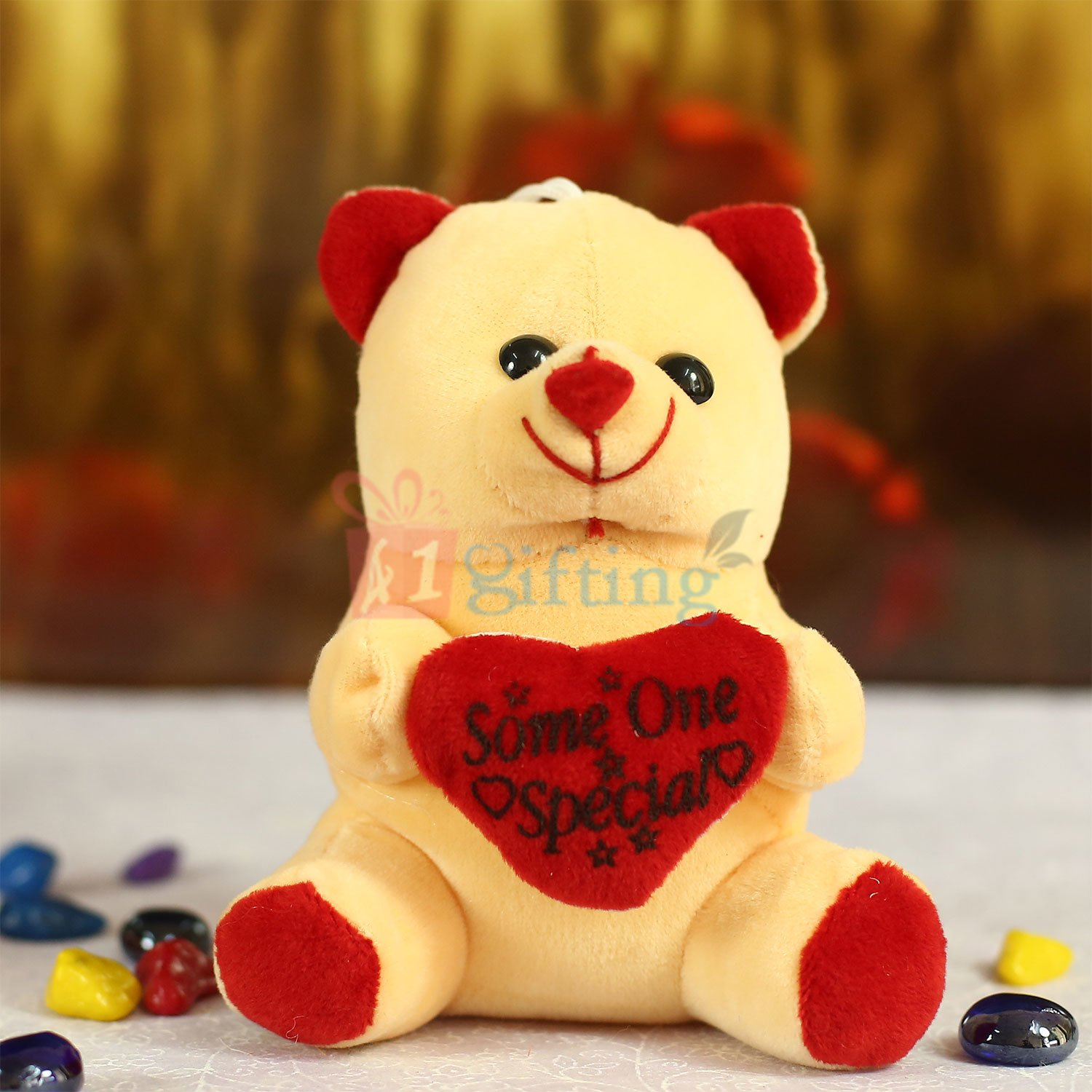 Light Brown Heart Teddy Soft Toy