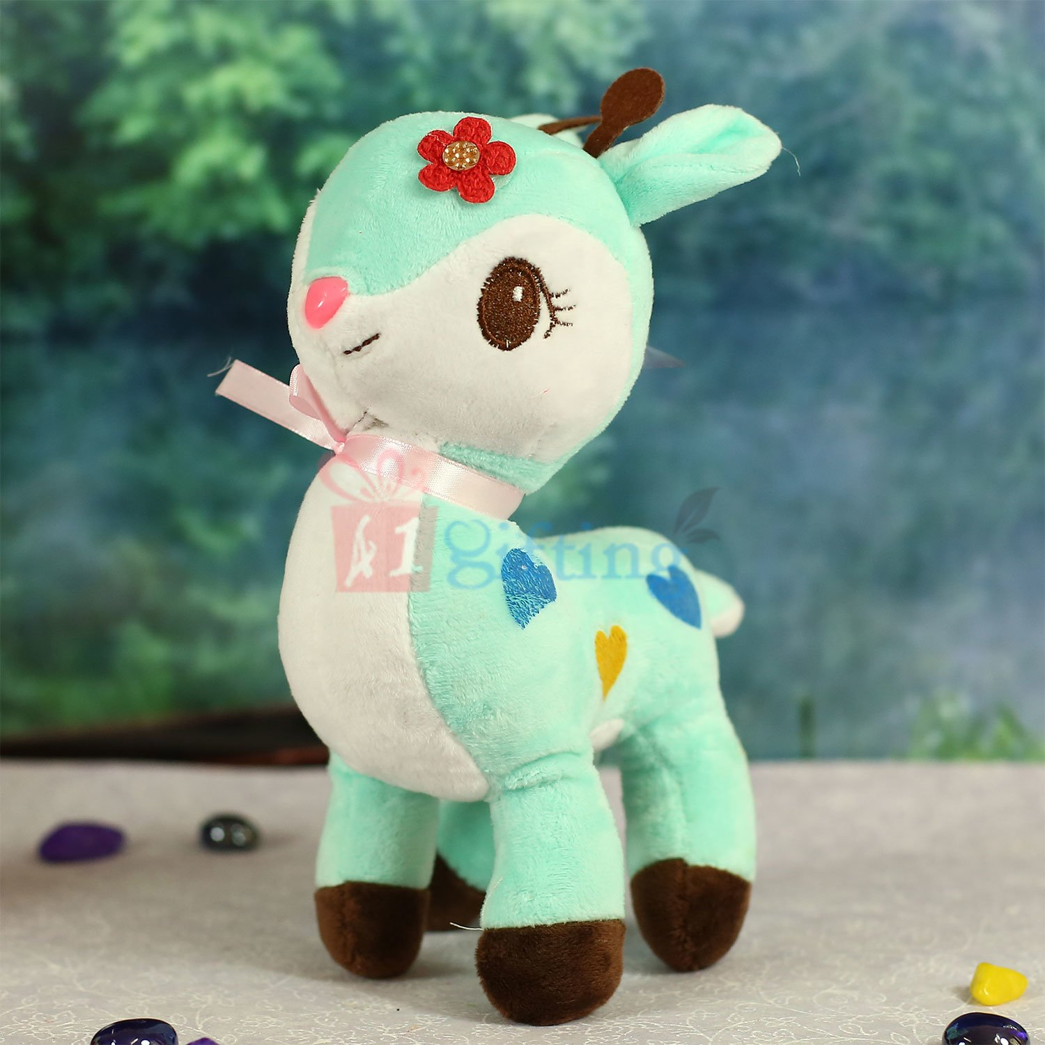 Deer Soft Toy in Mint and White