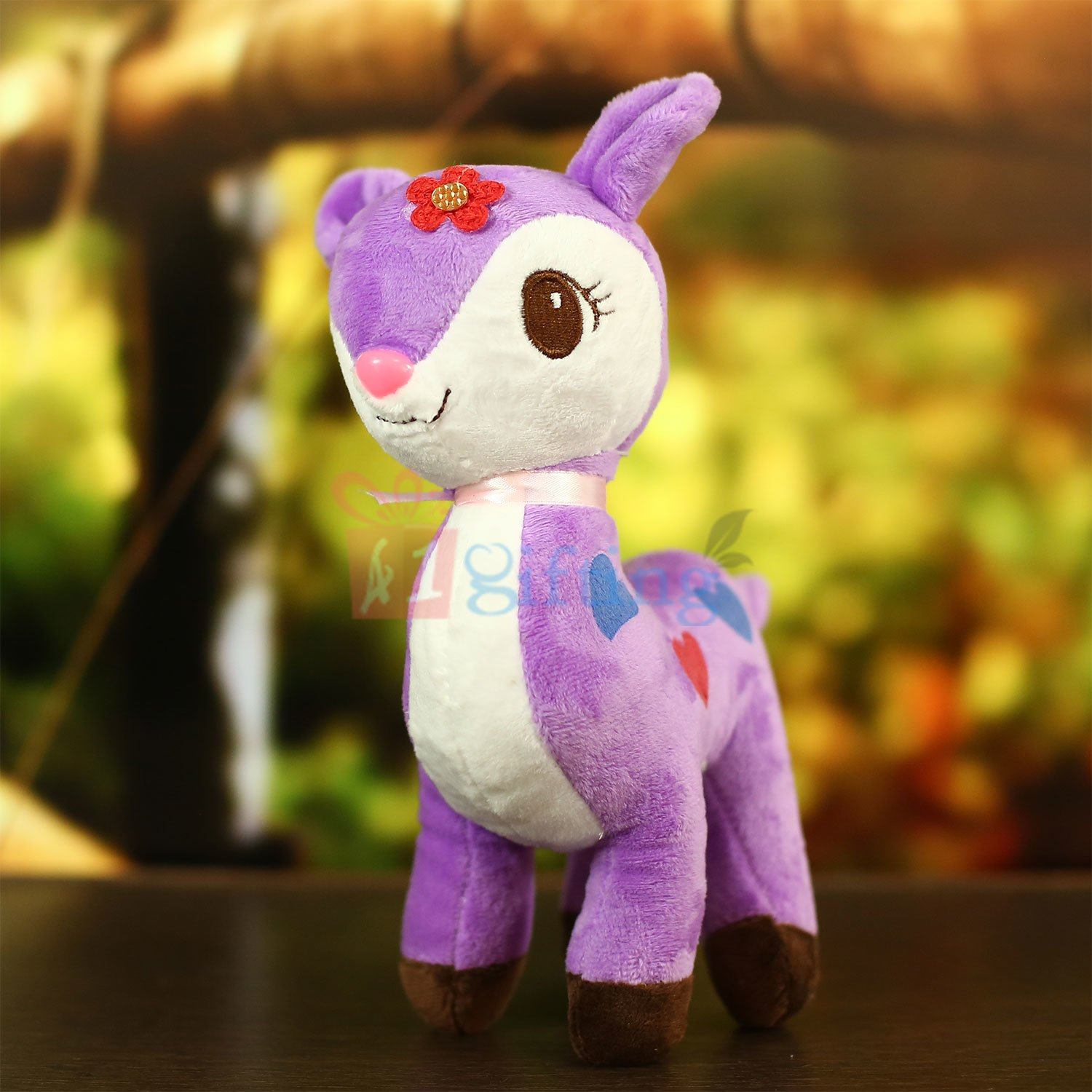 Deer Soft Toy in Purple and White