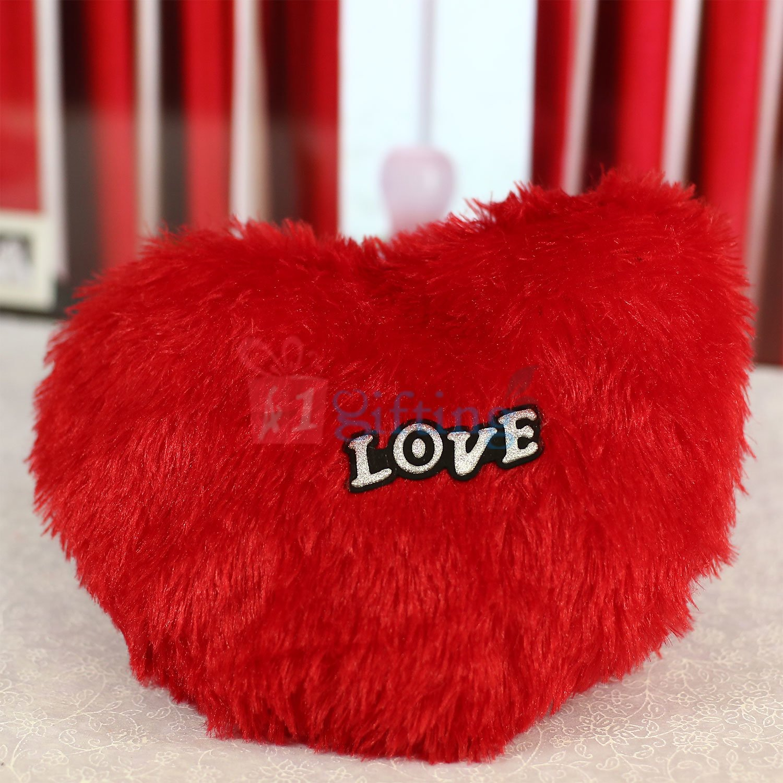 Fur Heart Soft Cushion with Love Tag