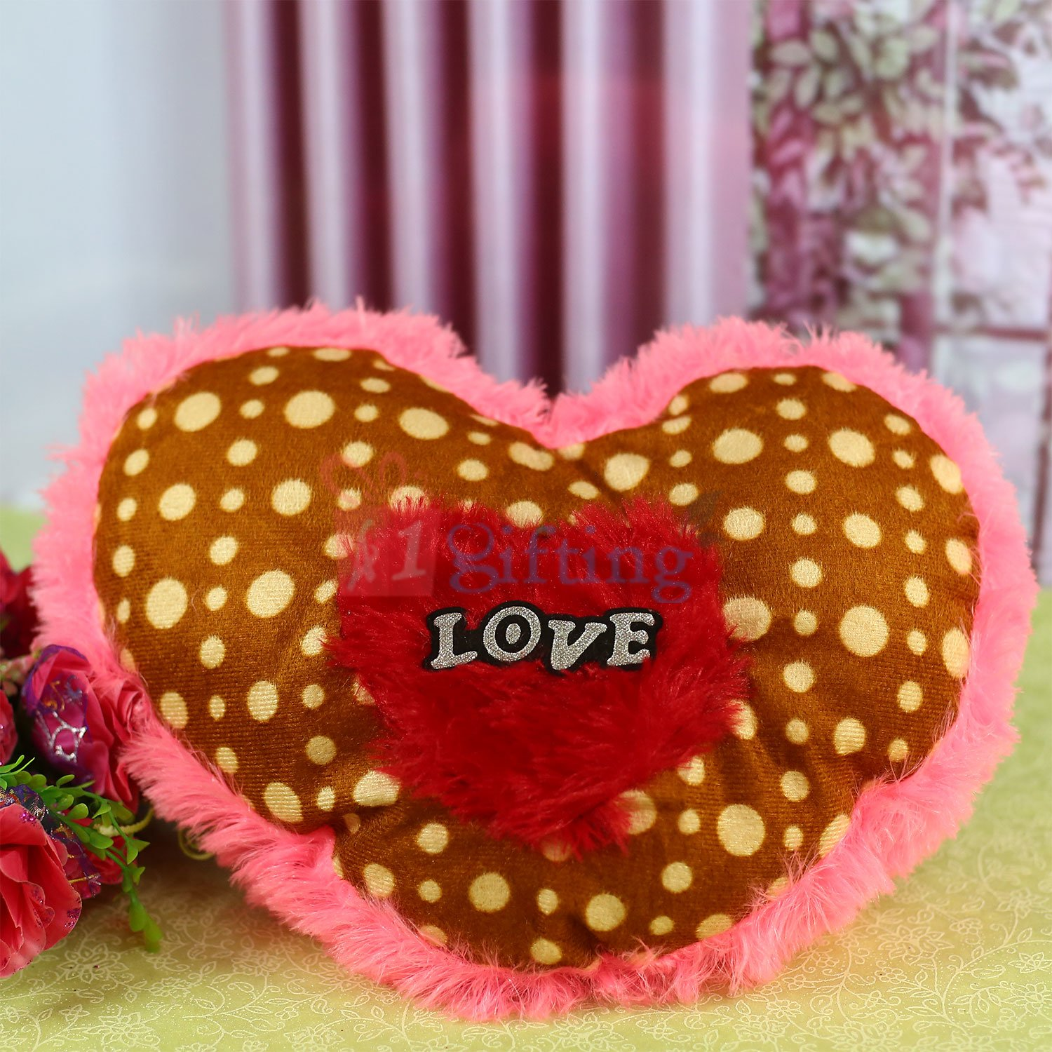 Brown Pink Heart Shape Dotted Cushion