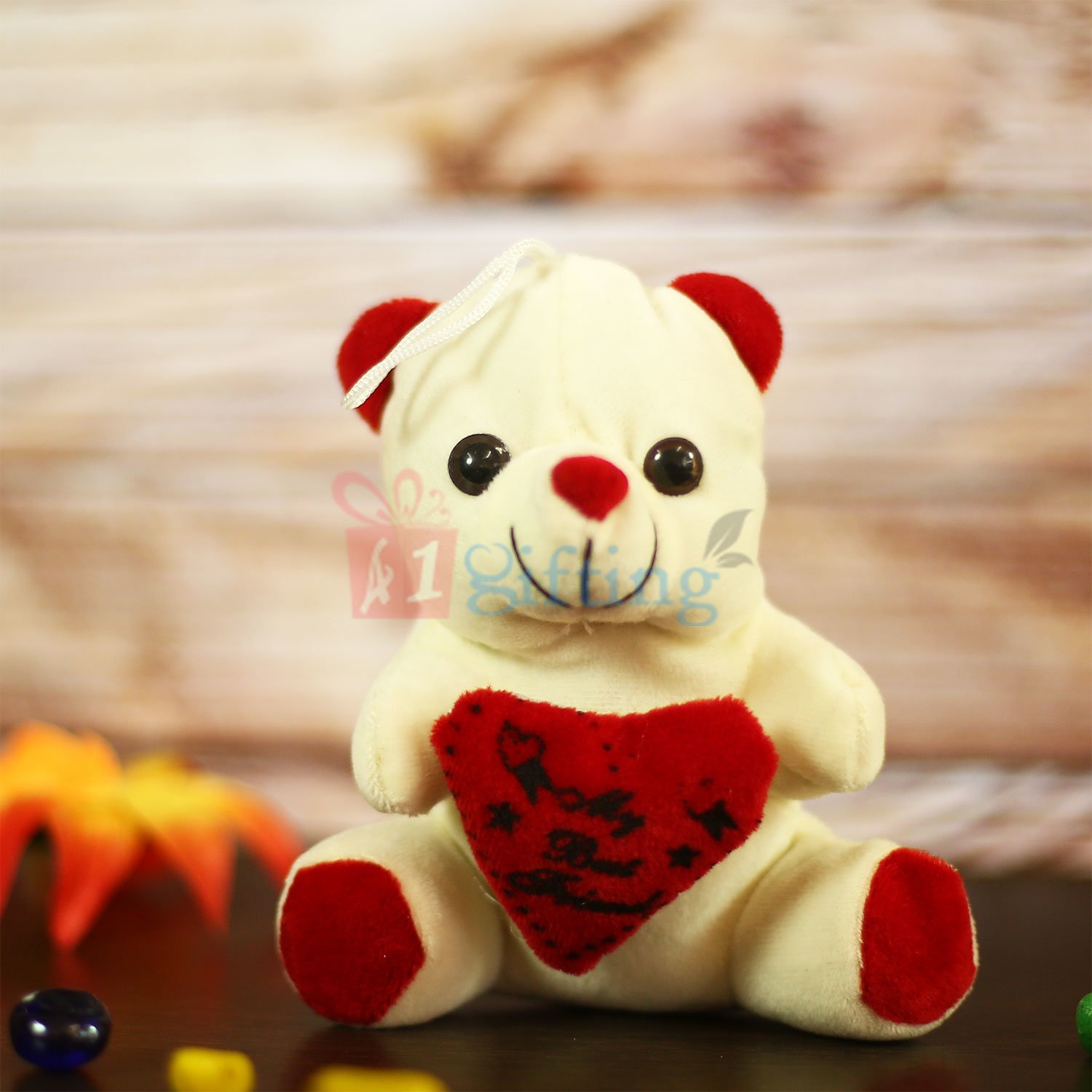 White Heart Teddy Soft Toy