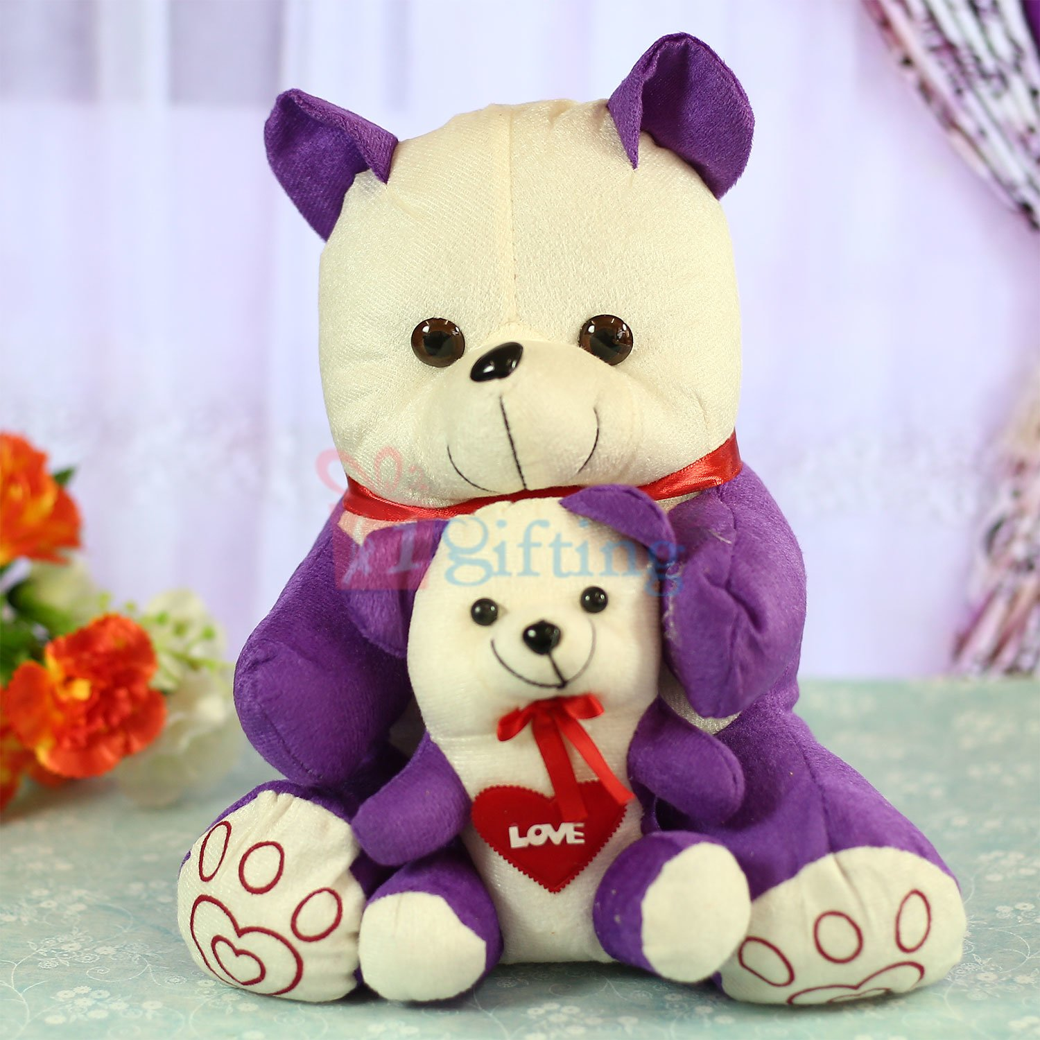 Cute Love Bow Teddy Bear with Kid Teddy