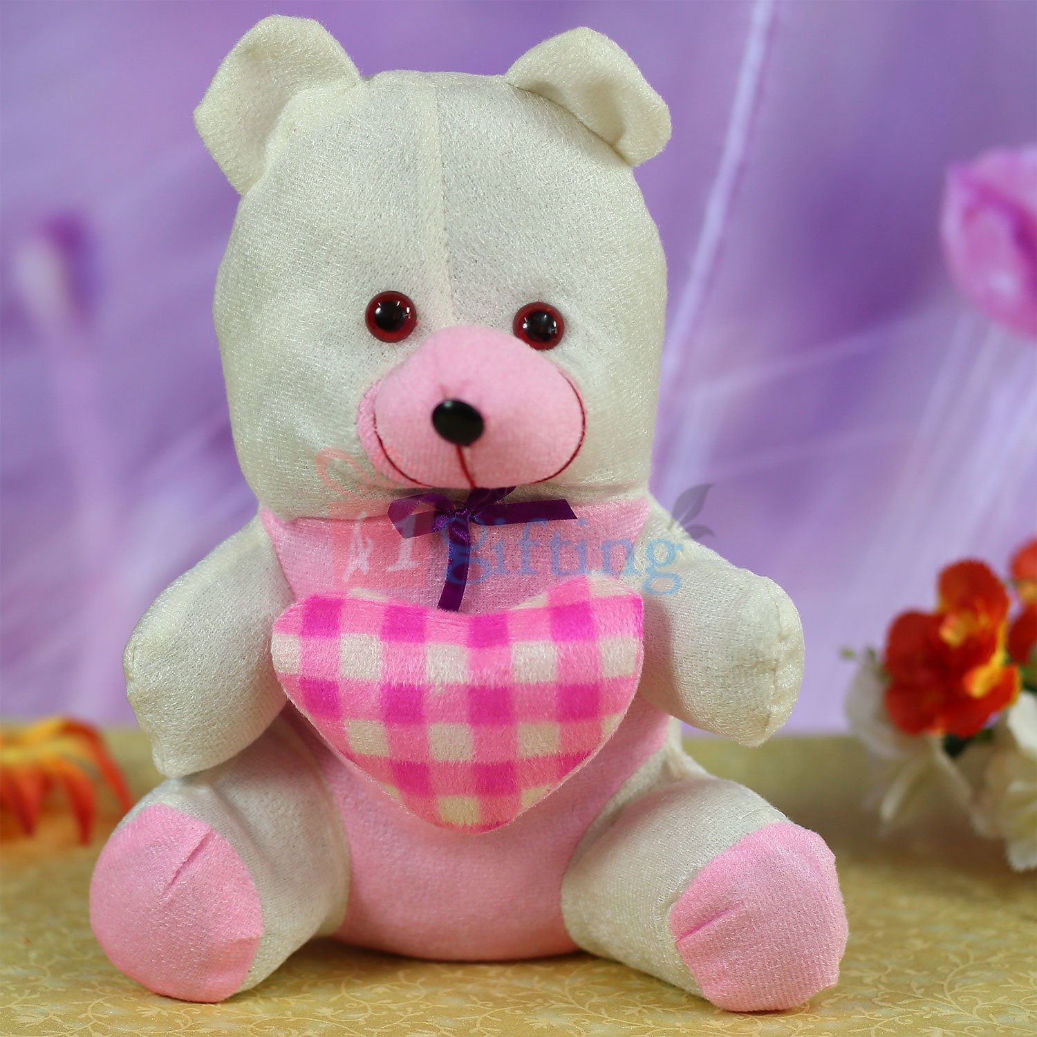Checked Heart Bow Teddy Bear Lovely Gift