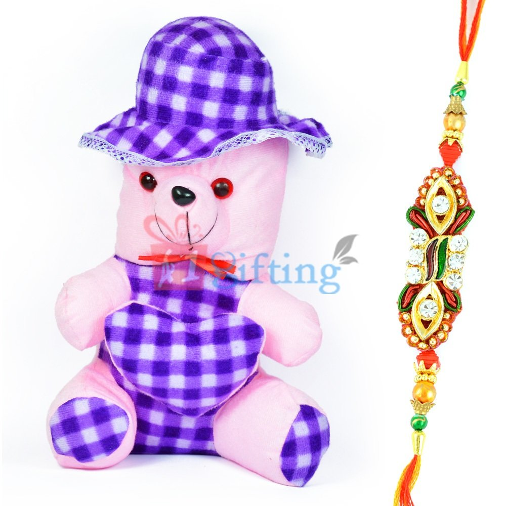 Little Bow Cap Blue Teddy Bear with One Designer Rakhi