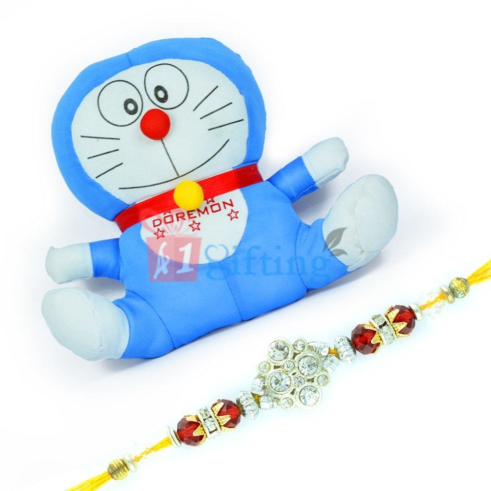 Doraemon Stuffed Toy for Kids n One Jewel Rakhi