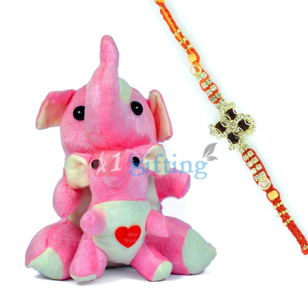 Twin Elephant Stuffed Toy for Kids n One Diamond Rakhi