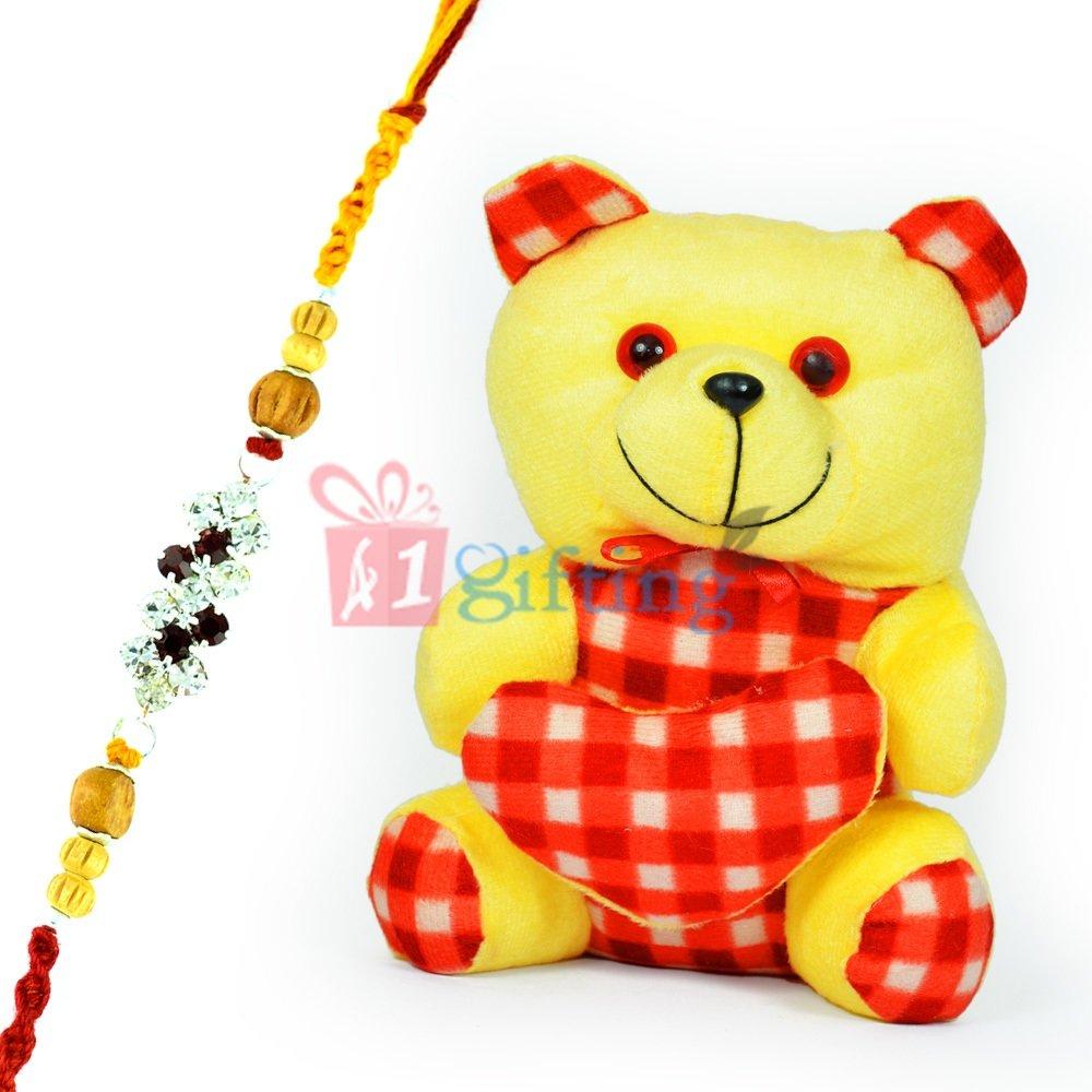Cutty Little Teddy Bear with Check Heart n One Jewel Rakhi