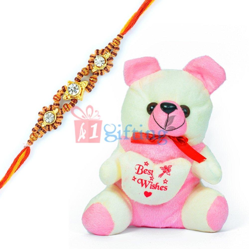 Pinky-White Small Bow Teddy Bear with One Moli Rakhi