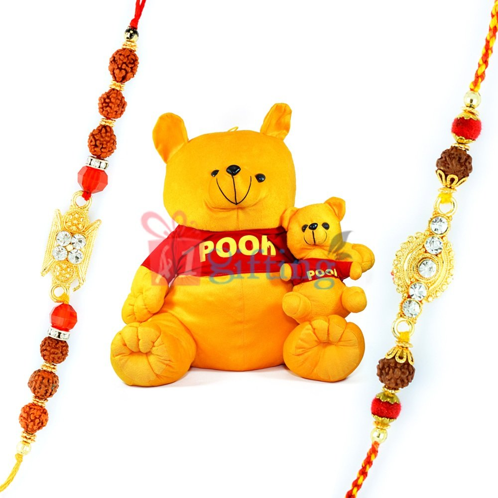 Pooh Dog with Little Pooh Soft Toy and Twin Auspicious Rakhis