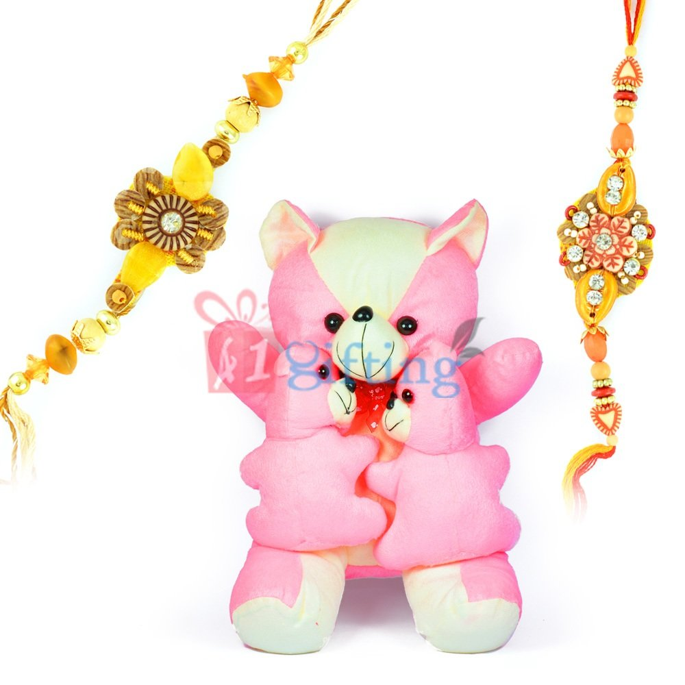 Big Pinkey Teddy Bear n Two Little Bear Kids with 2 Rakhis
